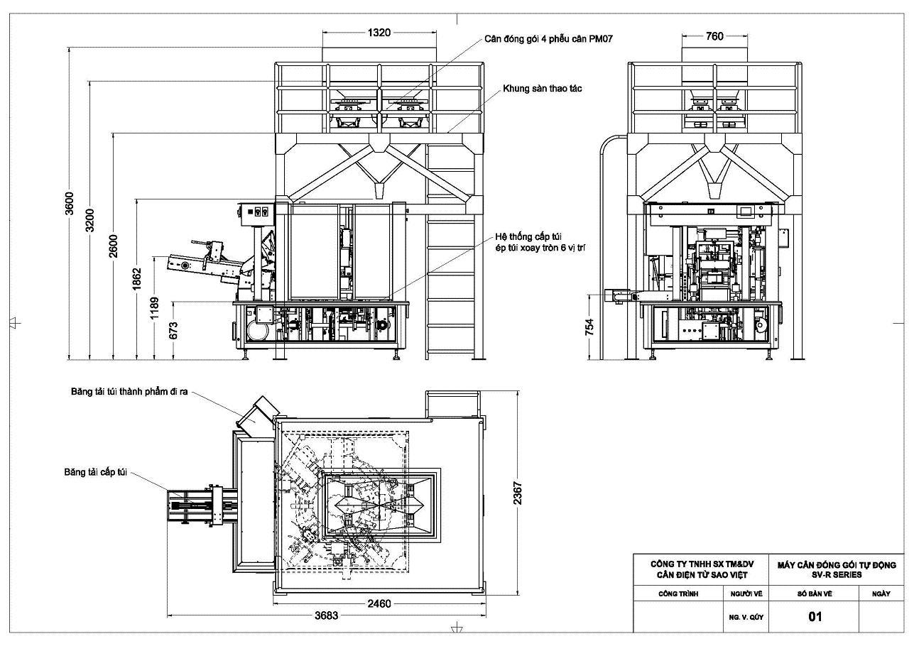 Kích thước máy đóng gói tự động bao bì túi hàn ép sẵn SV-R Series