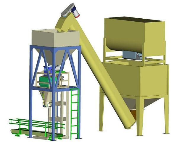 Thiết kế 3D hệ thống cân đóng bao kết hợp vít tải và máy trộn