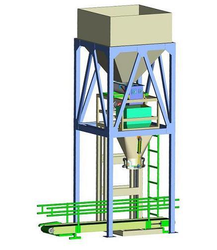 Thiết kế 3D hệ thống cân đóng bao và phễu chứa