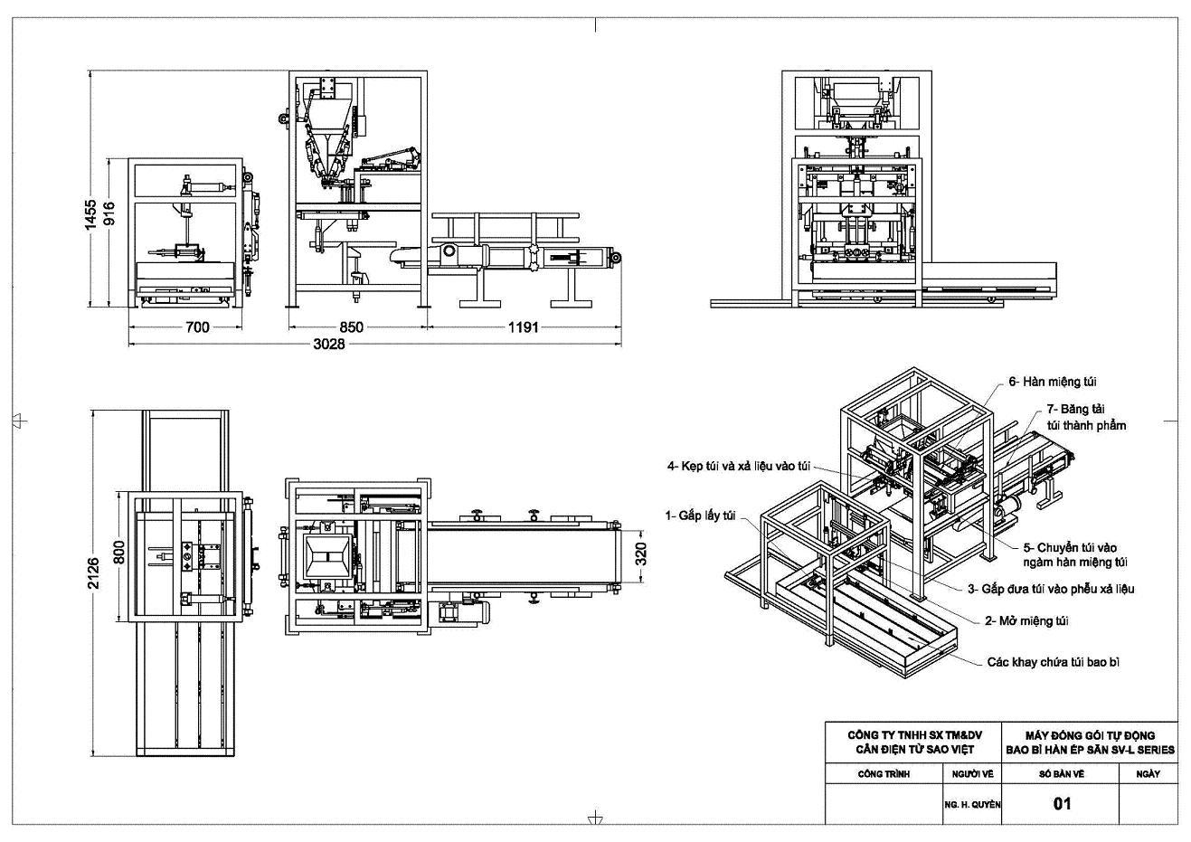 Kích thước máy đóng gói tự động bao bì túi hàn ép sẵn SV-L Series